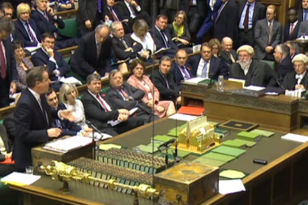 The Commons during PMQ, with much standing and sitting, files on laps and restless jeers