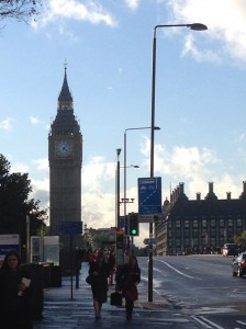 The Clock Tower and Portcullis House at the end of the day from across Westminster Bridge