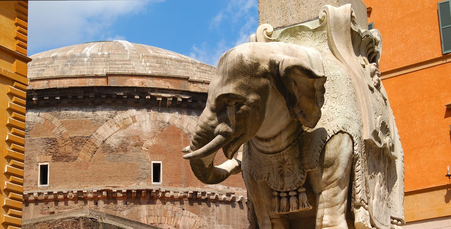 sculptor Bernini's elephant in the Piazza Minerva, seen on our gap year courses