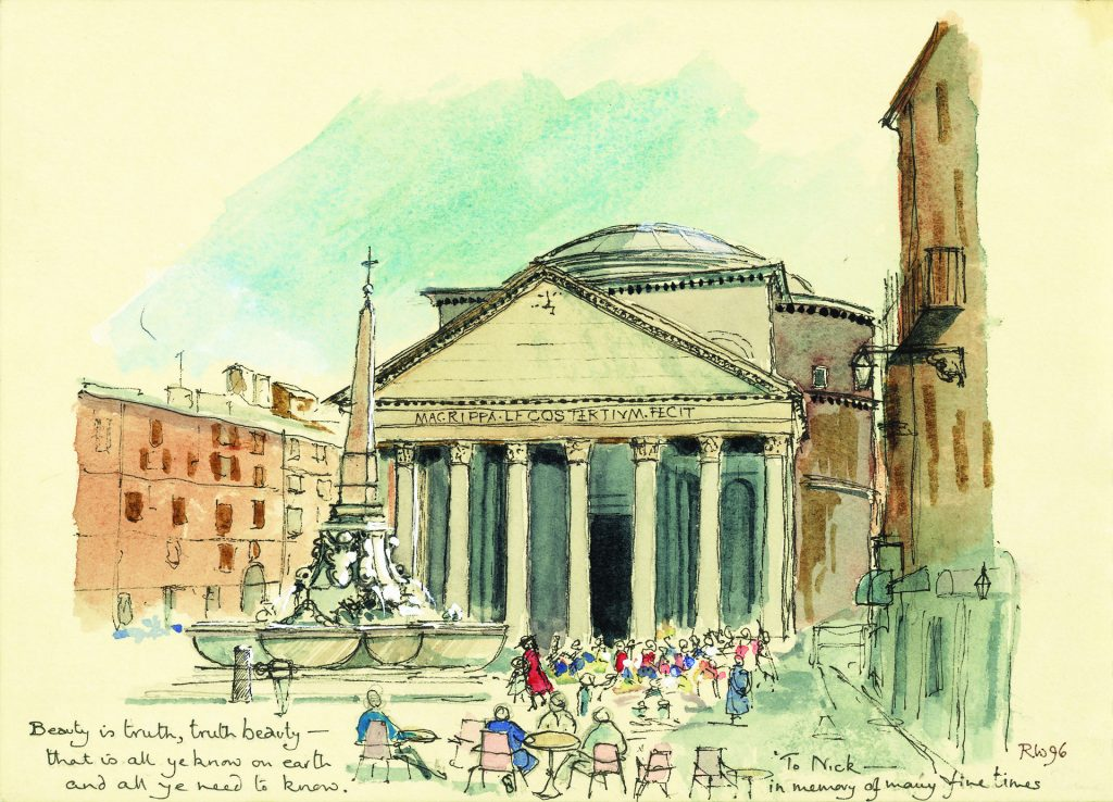 A watercolour painting of the architecure of the Pantheon, Rome