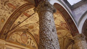 The columns and ceiling of the Palazzo Vecchio courtyard in Florence.