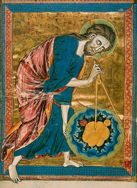"""God the Geometer"", 13th century manuscript, frontispiece of the Bible Moralisée of Blanche of Castile"