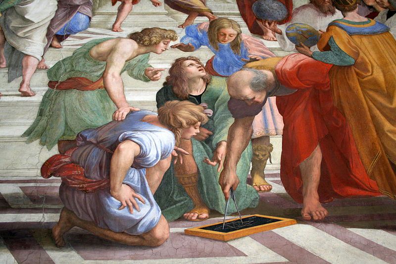 "Detail of man with compass, ""School of Athens"" Raphael"