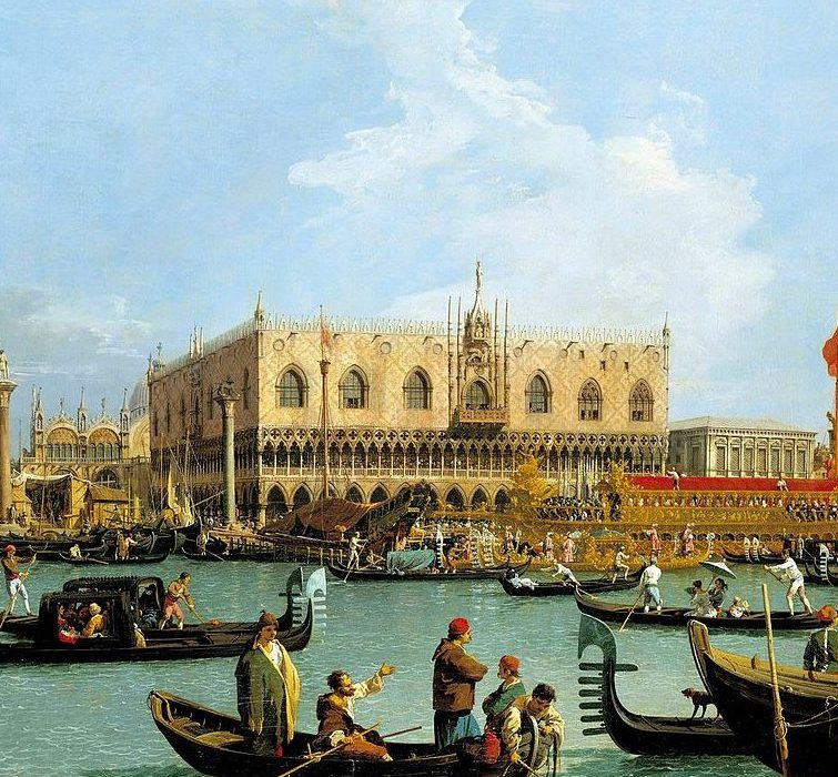The Doge's Palace in a Canaletto painting