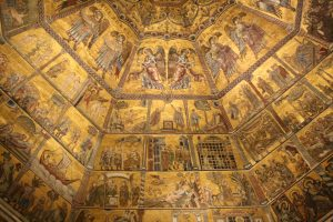 the stunning golden interior of the baptistery in Florence