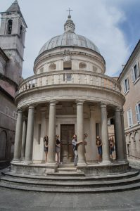 Summer course students hugging the columns of Bramante's Tempietto, Rome