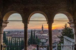 View through pillars of sunset in Florence