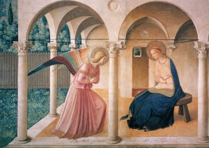 Fra Angelico's fresco with Angel Gabriel and the Virgin Mary