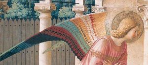 detail of the Angel Gabriel's wings in Fra Angelico's fresco of The Annunciation