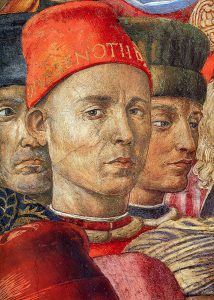 detail of painting The Magi, man in red hat