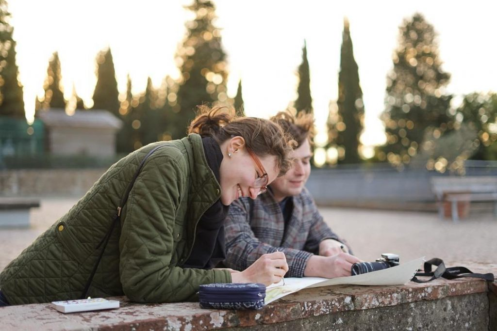 gap year student and tutor, Liam, doing some sketching in Italy