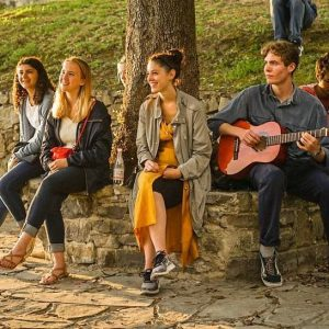 Late Summer gap year course students singing at sundown