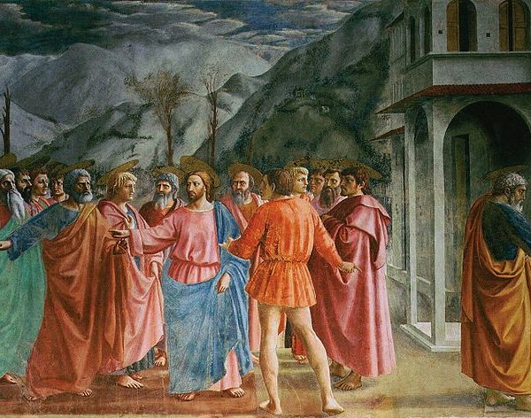 Colourful fresco by Masaccio from the Brancacci chapel