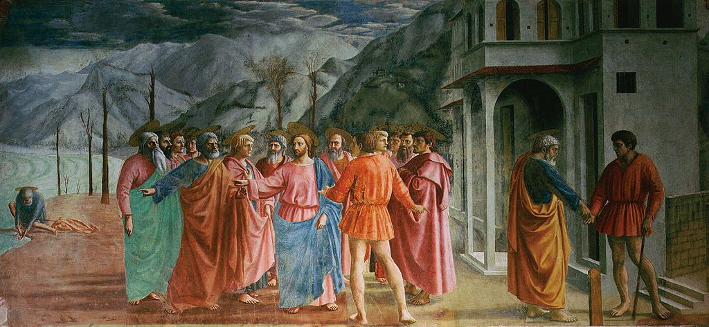 Colourful fresco by Masaccio from the Brancacci chapel