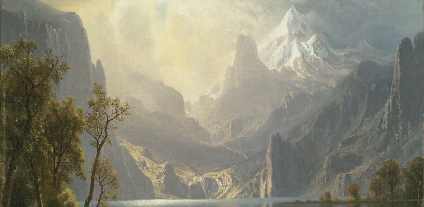 Painting of a view of mountains and a lake