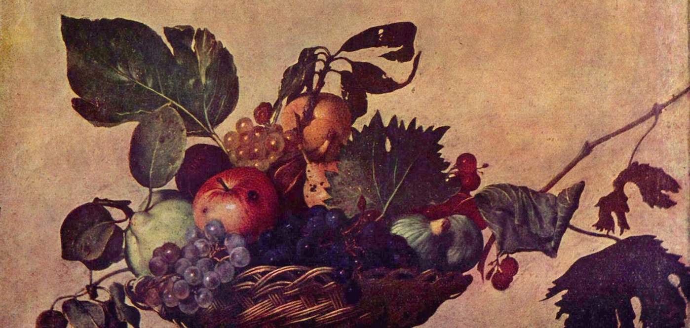 Crop of Caravaggio's Basket of Fruit painting